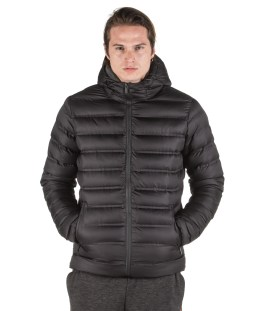 BODY ACTION MEN QUILT PADDED JACKET WITH HOOD 073926-01-01 Μαύρο