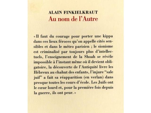 Alain Finkielkraut, Au nom de l'Autre