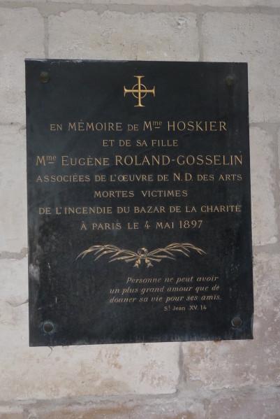 Plaque commémorative Bazar de la Charité