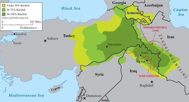 Kurdistan, densité de population