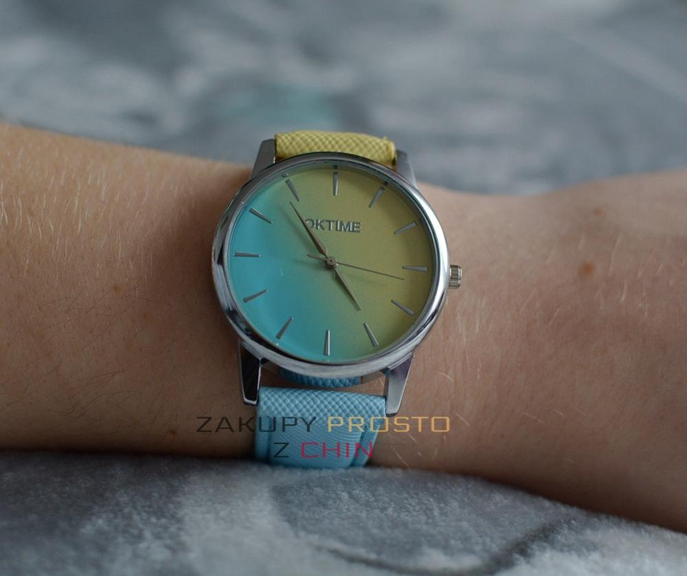 Zegarek błękitno-żółty z aliexpress