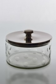 Fantastic small Barbara candy storage jar with dimples around the glass. Aluminium lid. Comes in three sizes. a) 14909- H13x21cm b)14910-H25x31cm c)14920- H33x21cm