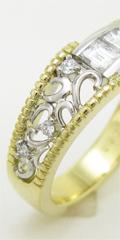 指輪の形見分けリフォーム。バゲットダイヤでリングとタイピンを制作
