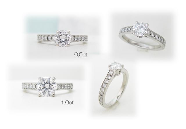 リフォーム用指輪空枠。ヴァンクリーフ風細めメレダイヤ彫り留めリング