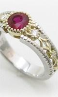 還暦記念の赤い指輪、オーダーメイドのルビーリング、ルース当社手配