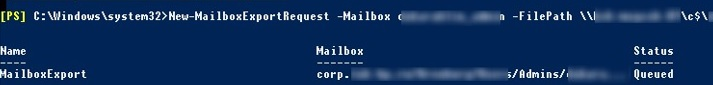 New-MailboxExportRequest: export user mailbox to a pst file