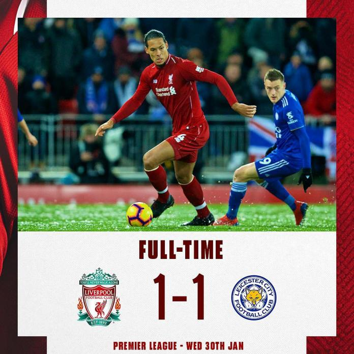Liverpool 1 – 1 Leicester City