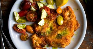 Chicken Milanese with beans