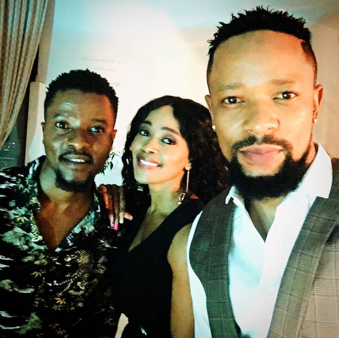 Cute pic of Thembi Seete having a good time with the Khoza brothers