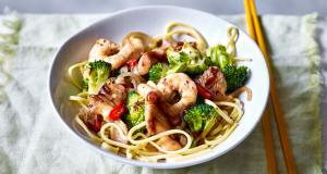prawns with stir-fried greens