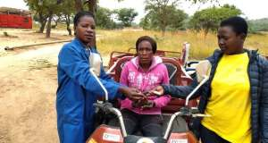 Electric motorbike 'the hamba' give rural Zim women a business opportunity