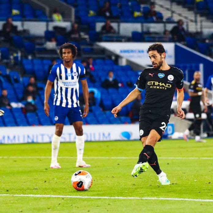 Sterling scores a hattrick as Man City thump Brighton Hove 5 – 0