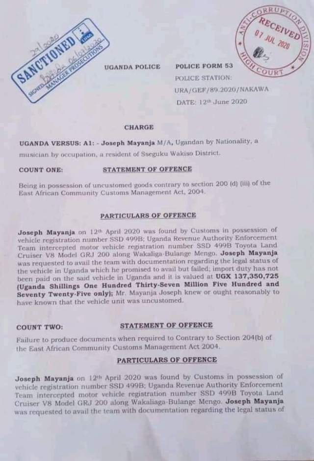 Chameleone is being summoned by anti-corruption court on bribery charges
