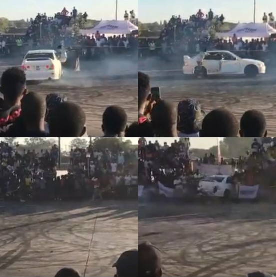 VIDEO – Drifting driver loses control and goes for the crowd