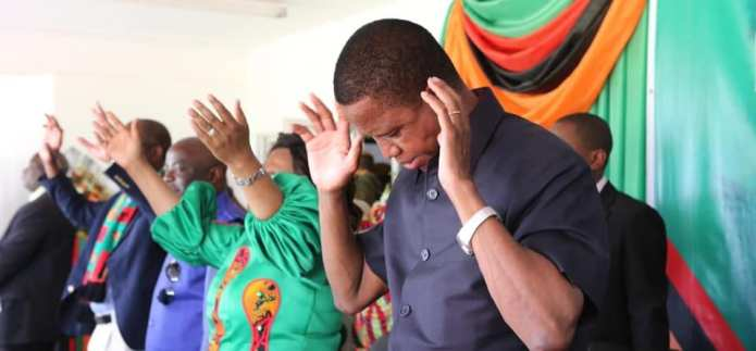 President Lungu attends prayer service for elections