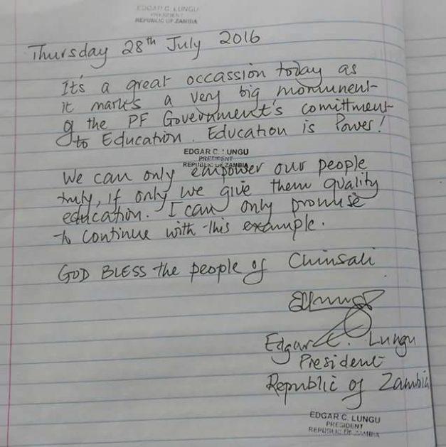Lungu commissions Robert Makasa University