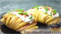 Foto till receptet: Garmoshka potatis, bakad i ugnen, med bacon och ost