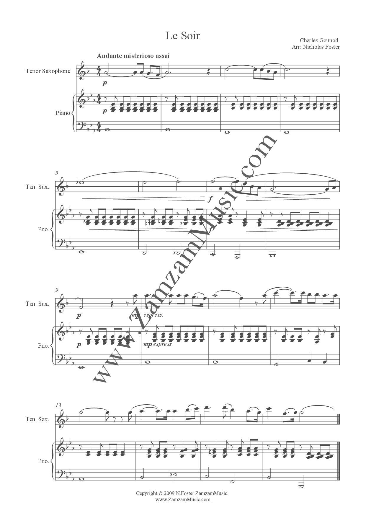 Gounod - Le Soir  A song arranged for Tenor Saxophone and Piano