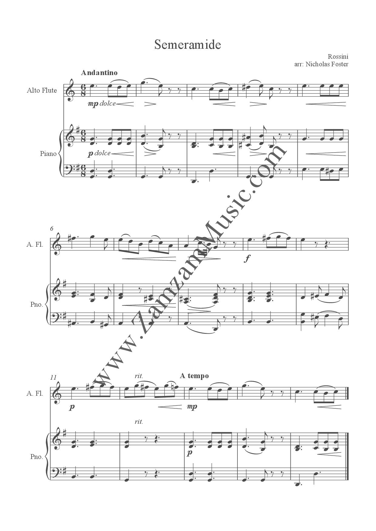 Various - Melodies from the Overtures for alto flute and piano  Easy to  Intermediate  - Zamzam Music