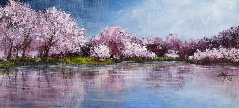 Acrylic Cherry Tree Reflections