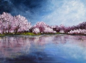 Cherry Trees Reflection - 9x12 acrylic ©Zan Savage Image is a Zan Savage original. Copying, altering, printing or redistribution of any images without written permission from the Artist is strictly prohibited.