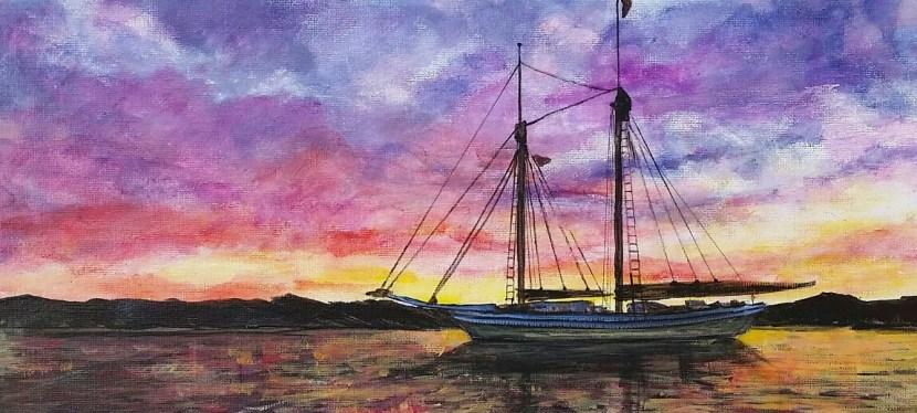 Acrylic Sailboat at Sunrise