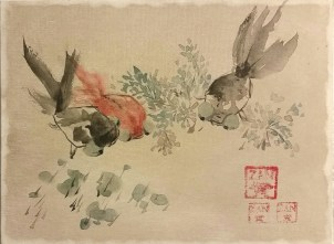 Xu Gu study Goldfish - 9x12 - acrylic and ink on canvas - Zan Savage