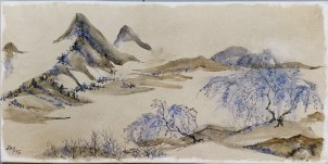 Yun Shouping Chinese Brush Study - 10x20 acrylic and ink - Zan Savage