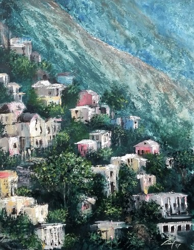 Amalfi Coast Dwellings- 11x14 acrylic -Image is a Zan Savage original. Copying, altering, printing or redistribution of any images without written permission from the Artist is strictly prohibited.