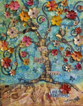 Tree of Life - 11x14 mixed media © Zan Savage. Image is a Zan Savage original. Copying, altering, printing or redistribution of any images without written permission from the Artist is strictly prohibited.
