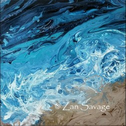 Ocean Pour 3 - 10x10 acrylic pour - All images are copyright © Zan Savage. Copying, altering, printing or redistribution of any images without written permission from the Artist is strictly prohibited.