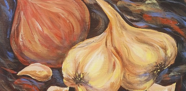 Acrylic Onion and Garlic