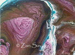 Tree Ring Pour - 9x12 acrylic pour- All images are copyright © Zan Savage. Copying, altering, printing or redistribution of any images without written permission from the Artist is strictly prohibited.