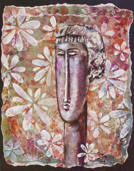 Ode to Modigliani Sculpture 11x14 mixed media © Zan Savage All images are Zan Savage originals. Copying, altering, printing or redistribution of any images without written permission from the Artist is strictly prohibited.