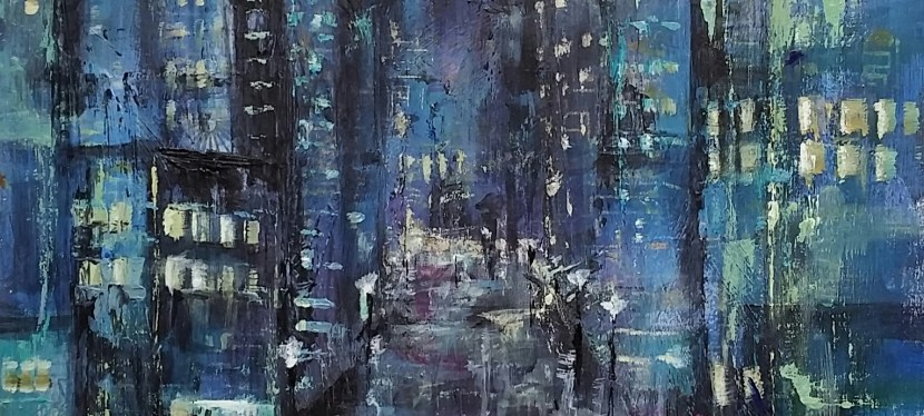 Mixed Media Rainy City