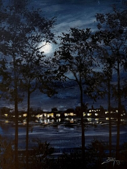 Florida Moonrise 9x12 acrylic © Zan Savage All images are Zan Savage originals. Copying, altering, printing or redistribution of any images without written permission from the Artist is strictly prohibited.
