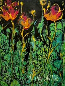 Fire Flowers 9x12 flow acrylic © Zan Savage All images are Zan Savage originals. Copying, altering, printing or redistribution of any images without written permission from the Artist is strictly prohibited.
