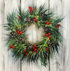 Festive Wreath 10x10 acrylic ©Zan Savage Image is a Zan Savage original. Copying, altering, printing or redistribution of any images without written permission from the Artist is strictly prohibited.