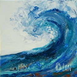 Great Wave 12x12 acrylic pour ©Zan Savage Image is a Zan Savage original. Copying, altering, printing or redistribution of any images without written permission from the Artist is strictly prohibited.