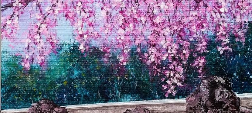 Mixed Media Cherry Blossom Serenity