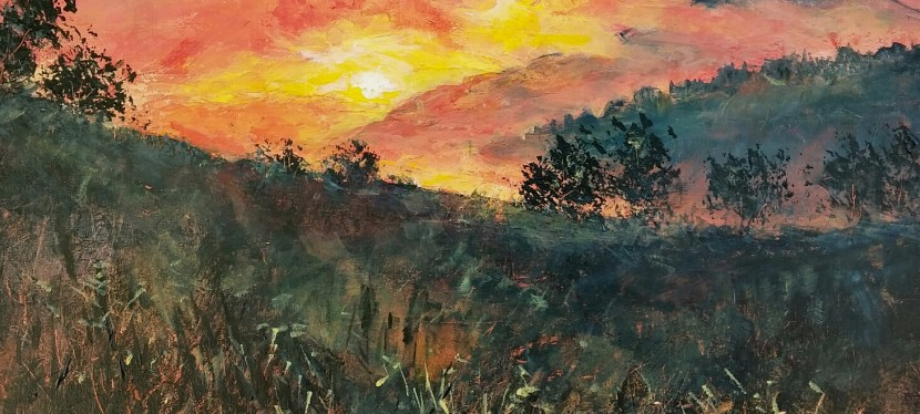 Acrylic Hazy Meadow Sunrise