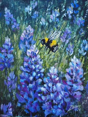 Bluebell Bumblebee 9x12 acrylic ©Zan Savage.jpg Image is a Zan Savage original. Copying, altering, printing or redistribution of any images without written permission from the Artist is strictly prohibited.