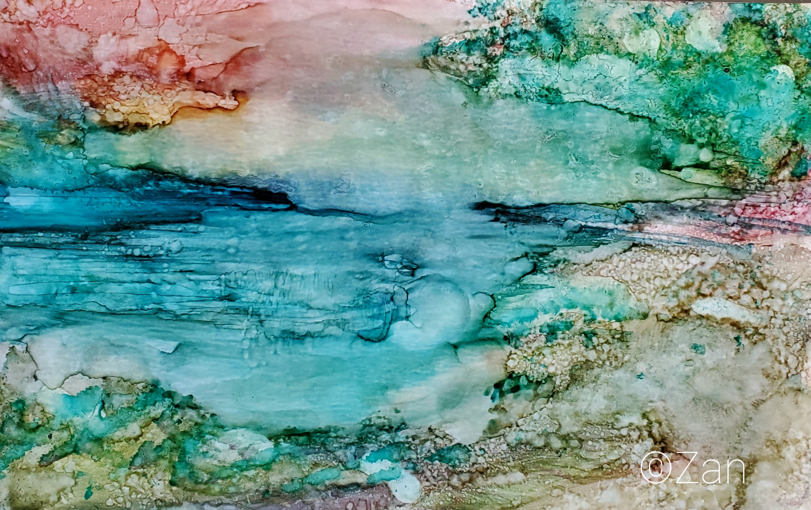 Cool Breeze 5×8 alcohol ink©Zan Savage Image is a Zan Savage original. Copying, altering, printing or redistribution of any images without written permission from the Artist is strictly prohibited.