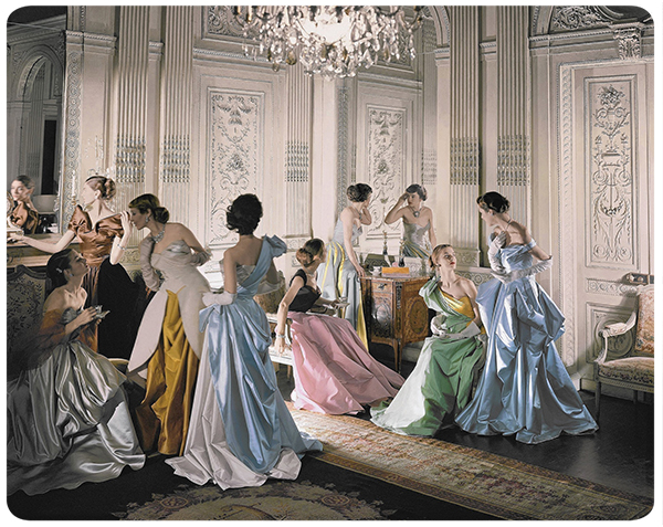 CT  Eight models wearing Charles James gowns, in French & Compan