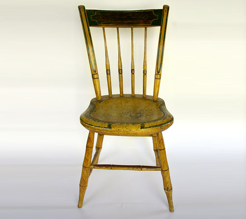 antique windsor chairs upholstered desk with wheels signed painted chair stephen kilburn circa 1810 mustard massachusetts