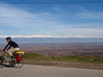 While the mountains were ever present on the horizon, it was not often that we ventured into them. The Greater and Lesser Caucasus ranges sandwich the fertile valleys of Georgia and Azerbaijan, giving us fresh produce and good wine, and (mostly) snow-free roads.