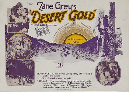 1926 Desert Gold - Poster with collage of stills