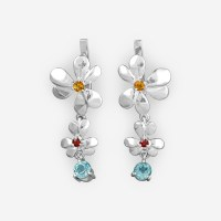 Sterling Silver Flower Drop Earrings with Gemstones