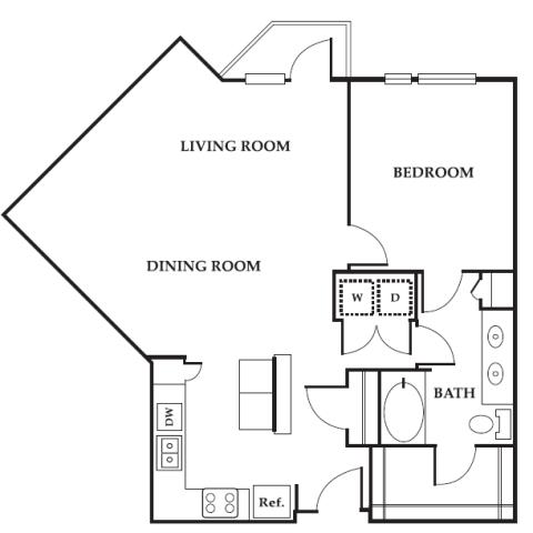 1 bedroom floor plan at 2M Street