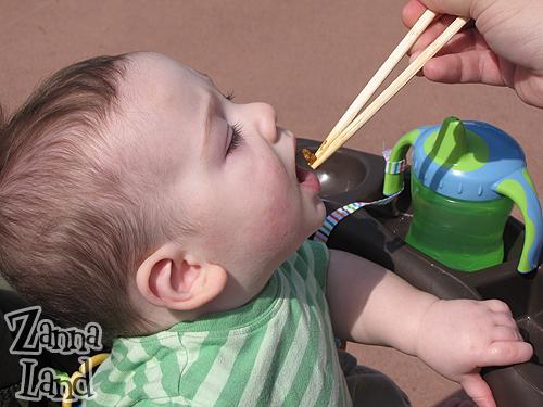 Baby G enjoying a taste of China at Epcot's International Food & Wine Festival!